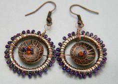 Beaded Purple cooper earrings by Violetastore on Etsy, $17.00