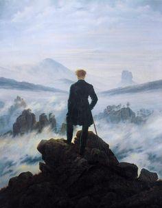 "Caspar David Friedrich (1774–1840), ""The wanderer above the sea of fog"" (1818)  Oil on canvas, 98 × 74 cm  Hamburg, Hamburger Kunsthalle"