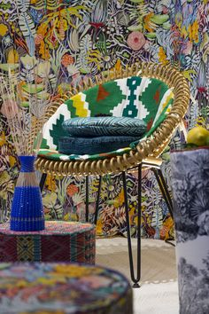 La Maison Pierre Frey presents its new Maya collection in our Curly chair. Central American vibes! Vincent Sheppard   Atelier N/7   Curly