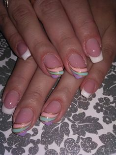 Nail designs Nail designs designs frenchnails frenchnailssquare n French Tip Nail Designs, French Nail Art, French Tip Nails, Toe Nail Designs, Colorful Nail Designs, Pretty Nail Art, Cute Nail Art, Frensh Nails, Nail Nail