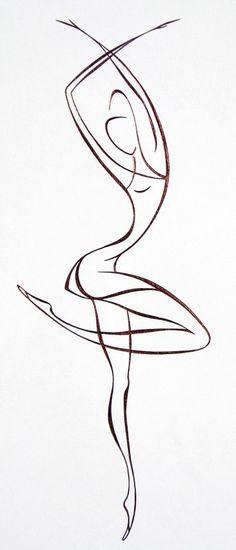 Idéia de tatuagem de dança em estilo minimalista.