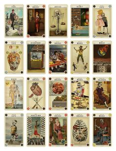 Zombie tarot cards. Cards are illustrated with and on vintage materials.