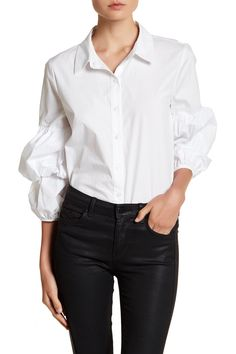 Ruched Long Sleeve Button Down Blouse by Ro & De on @nordstrom_rack