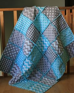 Baby rag quilt, Riley Blake collection, made to order on Etsy, $64.59