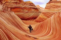 The Wave – Arizona. The Wave is a sandstone rock formation in Arizona, near the border to Utah. The wave bands are created by erosion from water and later wind. The Wave Arizona, Arizona Usa, Oh The Places You'll Go, Places To Travel, Places To Visit, Travel Destinations, Beautiful Vacation Spots, Beautiful Places, Amazing Places