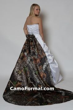 Add a detachable train to your wedding gown to accent with your favorite camouflage print!