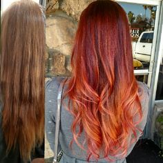 Fiery Red copper Balayage