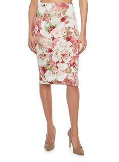 Floral Print Pencil Skirt,MINT
