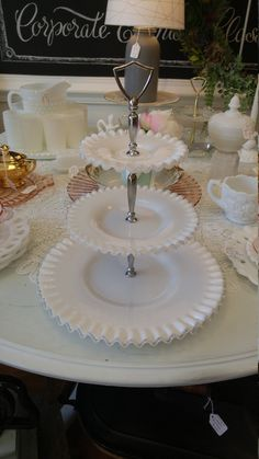 Vintage Fenton Milk Glass 3-Tier Silver Crest Serving Tray! by…