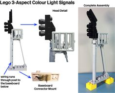"""This illustration shows the completed colour light signal assembly including a completely revised post, ladder, and service cage. The post was designed to carry the wiring from the head down to the baseboard below. A permanently attached connector is mounted on the assembly to offer strain relief for the delicate wires and to permit removal from the layout. The implementation of a """"ladder"""" was achieved using upside down antenna elements mounted with minifig hands and tube. The m..."""
