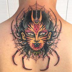Tattoo by Marc Nova @marc_nova marcnova marcnovatattooing mashup color leopardwoman spider