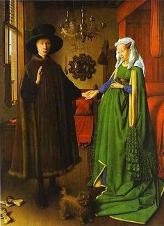 """The Arnolfini Wedding Portrait""  --  1434  --  Jan van Eyck  --  Flemish  --  The National Gallery, London."
