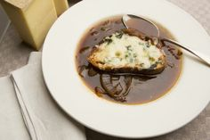 Recipe: Red Onion Soup with Cheese Toasts Onion soup is a time-honored hangover cure.
