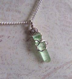 Green Tourmaline Crystal Sterling Silver Wire Wrap by mandalarain, $30.00