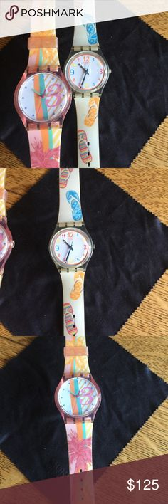 Swatch fun in the sun pack! The highly anticipated flip flop swatch and tropical palm watch. They do need batteries but work just fine. I can continue to look for the cases, I might still have them around. Yes they are authentic! And sold together. swatch Accessories Watches