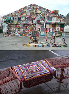 yarn bomb an abandoned house! Why didn't I think of that?