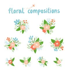 Vintage floral compositions collection vector by stolenpencil on VectorStock®