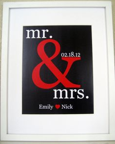 Personalized Couple Gift Print Name - wedding gift -engagement- anniversary gift- subway sign-red and black. $15.00, via Etsy.