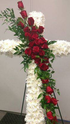White pond and red roses on cross by Pam Roberts Funeral Floral Arrangements, Tropical Floral Arrangements, Creative Flower Arrangements, Rose Arrangements, Church Flowers, Funeral Flowers, Casket Flowers, Cemetery Decorations, Memorial Flowers