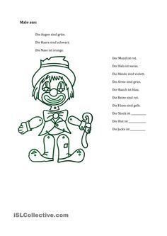 Male den Clown aus! Clown Crafts, Worksheets, Clip Art, Activities, Education, Reading, Teacher Stuff, Kindergarten, Places