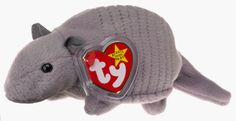 """Ty Beanie Babies Tank the Armadillo [Toy]: Rare version of Tank the Armadillo. 7 lines/plates, poem says """"Boarder"""" instead of border, Canadian tush tag. Ty Animals, Ty Stuffed Animals, Plush Animals, Stuffed Toys, Rare Beanie Babies, Original Beanie Babies, Beanie Baby Collectors, Ty Babies, Ty Toys"""