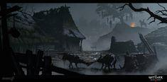 ArtStation - The Witcher Wild Hunt - Storybook, Studio The Witcher Game, Witcher Art, Environment Concept Art, Environment Design, Dark Fantasy Art, Fantasy Artwork, Valhalla, Apocalypse Now, Fantasy Village