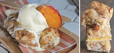 Peach Cobbler Bars Made With Krusteaz Snickerdoodle Cookie Mix Peach Cobbler Bars, Smores Cookies, Bar Cookies, Overnight Breakfast Casserole, Fruit Recipes, Brunch Recipes, Breakfast Recipes, Dessert Bars, Casserole Recipes