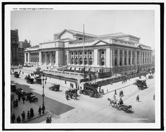 16 x 20 Gallery Wrapped Frame Art Canvas Print of New York Public Library Building The 1910 Detriot Publishing co. 81a