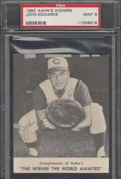 1962 Kahn's Weiner Card John Johnny Edwards Cincinnati Reds Graded PSA 9 MINT