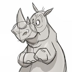 Rhino! #cartoon #sketch #rhino
