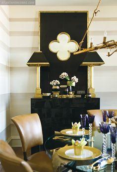 ombre stripe walls & mirror