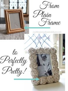 DIY Rosette Picture Frame is a simple craft that dresses up the plainest of frames.