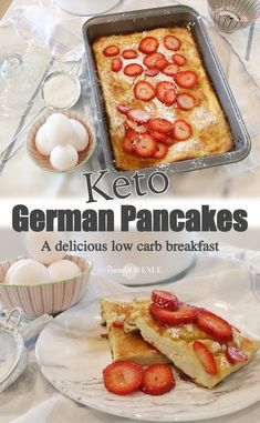 Low Carb Recipes German Pancakes - Low Carb Recipe - Remington Avenue - The best keto or low carb version of my family's favorite breakfast. My kids ate it up just the same as the orgional recipe. Six ingredients and 5 minutes of prep! Keto Pancakes, Fluffy Pancakes, Waffles, Low Carb Desserts, Low Carb Recipes, Primal Recipes, Entree Recipes, Meal Recipes, Low Carb