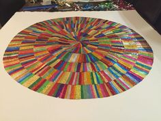Angela finished collage circle in square, made from recycled confectionery and chocolate wrappers. Rowntrees Fruit Pastilles, Modern Art, Contemporary Art, Quality Street, Square Art, Collage Artists, Confectionery, Recycling, Abstract Art