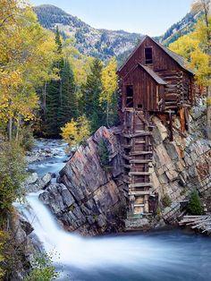 Crystal Mill Fall - Loose tisku.  Podzimní barvy podél Crystal River Waterfall mramoru Aspen Colorado Krajina