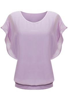 Lilac Loose Casual Short Sleeve Chiffon Top T-shirt Blouse