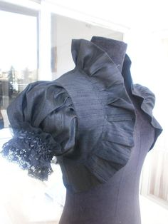 Items similar to MILANO black raw silk bridal bolero jacket wedding shrug wedding bolero shrug black bolero black shrug black silk shrug on Etsy Mode Steampunk, Steampunk Fashion, Victorian Fashion, Wedding Shrug, Bridal Bolero, Lace Bolero Jacket, Estilo Tribal, Lolita, Collar Pattern