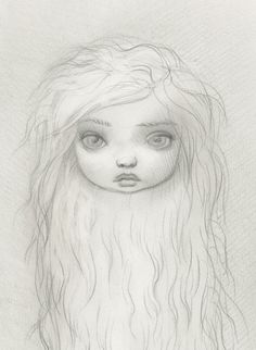 I really like this image because it is very simple yet it is detailed enough to have depth within the image. Mark Ryden adds shading around the chin to define it more and separate it from the hair