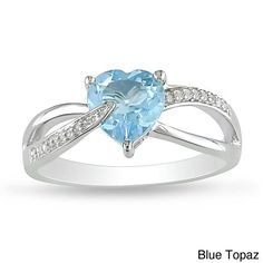 Miadora Sterling Silver Birthstone and Diamond Accent Heart Ring (Blue Topaz - Size 9.5), Women's