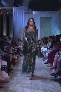 Gorgeous Golden Embroidered Dark Forest Sheath Evening Maxi Dress Evening Gown with Long Sleeves. Autumn Winter 2017/2018 Haute Couture Collection. Runway Show by Elie Saab