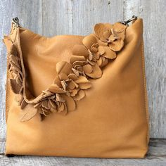 Leather Bag in Soft Butterscotch Caramel Designer Leather with Detachable Flower Shoulder Strap - Slouchy - Handmade - by Stacy Leigh Soft designer leather in a caramel butterscotch color. This bag is handmade and hand stitched. It is simple in style and slouchy in nature. The flower strap