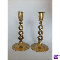 "Pair Of Vintage Open Barley Twist Brass Candlesticks 8"" Tall on eBid United Kingdom"
