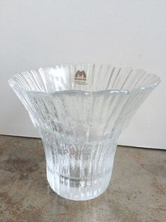 Muurla Finnish Ice Crystal Glass Votive Candle Holder / Vase - Made In Finland
