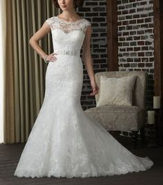 2014 New white / ivory lace applique wedding dress cap sleeve backless  custom Size bridal Dress on Etsy, $158.00