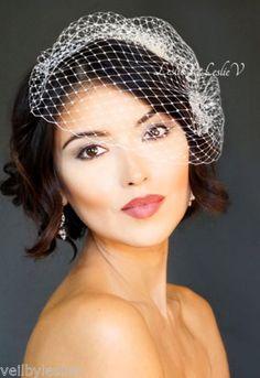 White-Petite-Bridal-Birdcage-Veil-Wedding-Headpiece-Versatile-Many-Styles-LV23
