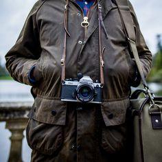 Our Marlborough camera bag, Nikon FM2 and Barbour Beaufort.