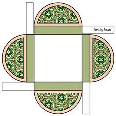 Printable Boxes: Olive green printable gift boxes.