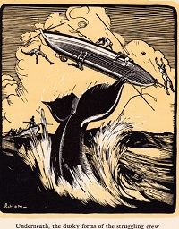 """Reynolds, J.N. MOCHA DICK: OR THE WHITE WHALE OF THE PACIFIC. NY. 1932. Duotone woodcuts. 4to. 90, (1) pp. Reynolds wrote the first published account of the legend of the """"White Whale"""" on which Melville based his famous novel """"Moby-Dick."""" I've seen mid-19th century appearances of Reynolds' yarn in newspapers, but the first book apperance wasn't until the 1870s. This edition was published by Scribners, with handsome wood engraved whaling scenes by Lowell LeRoy Balcom."""