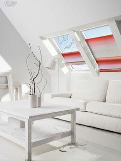 Le tende di Scholten & Baijings per Velux - Interior Break All White Room, Interior Design Magazine, Design Interior, Interior Ideas, Vash, Acoustic Panels, Furniture Covers, Window Coverings, Window Treatments