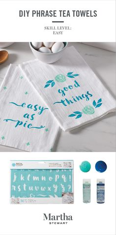 This tea towel set makes a perfect hostess gift at your next dinner party. Customize towels with cute phrases or a monogram using Martha Stewart craft paint and alphabet stencils from Michaels.